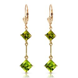 Genuine 3.75 ctw Peridot Earrings Jewelry 14KT Yellow Gold - REF-30R6P