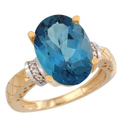 Natural 5.53 ctw London-blue-topaz & Diamond Engagement Ring 10K Yellow Gold - REF-46H8W