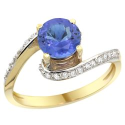 Natural 1.08 ctw tanzanite & Diamond Engagement Ring 14K Yellow Gold - REF-60H3W