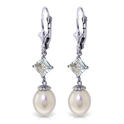 Genuine 9.5 ctw Pearl & Aquamarine Earrings Jewelry 14KT White Gold - REF-27Y4F