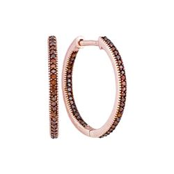 0.25 CTW Red Color Diamond Hoop Earrings 10KT Rose Gold - REF-28F4N