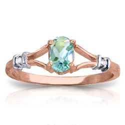 Genuine 0.46 ctw Blue Topaz & Diamond Ring Jewelry 14KT Rose Gold - REF-27T2A