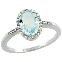 Natural 1.03 ctw Aquamarine & Diamond Engagement Ring 10K White Gold - REF-20H5W