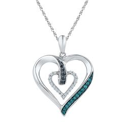 0.16 CTW Black Color Diamond Heart Pendant 10KT White Gold - REF-19K4W