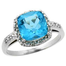 Natural 3.92 ctw Swiss-blue-topaz & Diamond Engagement Ring 10K White Gold - REF-26Y7X