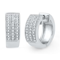 0.25 CTW Diamond Huggie Hoop Earrings 10KT White Gold - REF-37W5K