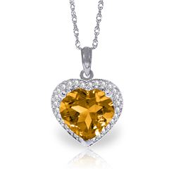Genuine 3.24 ctw Citrine & Diamond Necklace Jewelry 14KT White Gold - REF-59N3R
