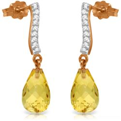 Genuine 4.78 ctw Citrine & Diamond Earrings Jewelry 14KT Rose Gold - REF-46Y2F