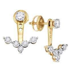 0.65 CTW Diamond Earrings 10KT Yellow Gold - REF-69X2Y