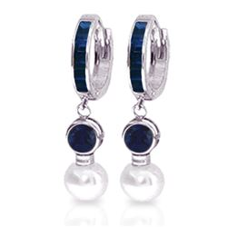 Genuine 6.65 ctw Sapphire & Pearl Earrings Jewelry 14KT White Gold - REF-56Y2F
