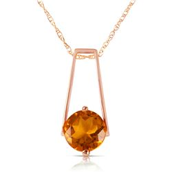 Genuine 1.45 ctw Citrine Necklace Jewelry 14KT Rose Gold - REF-23K8V