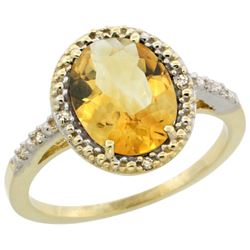 Natural 2.42 ctw Citrine & Diamond Engagement Ring 10K Yellow Gold - REF-25Y5X