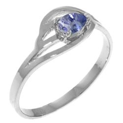 Genuine 0.30 CTW Tanzanite Ring Jewelry 14KT White Gold - REF-32F8Z