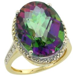 Natural 13.6 ctw Mystic-topaz & Diamond Engagement Ring 14K Yellow Gold - REF-75Y6X
