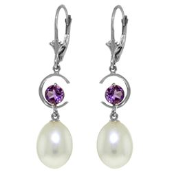 Genuine 9 ctw Pearl & Amethyst Earrings Jewelry 14KT White Gold - REF-36K3V