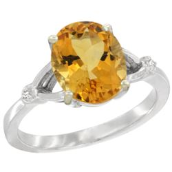 Natural 2.41 ctw Citrine & Diamond Engagement Ring 14K White Gold - REF-33V8F