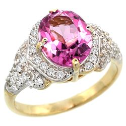 Natural 2.92 ctw pink-topaz & Diamond Engagement Ring 14K Yellow Gold - REF-102K7R