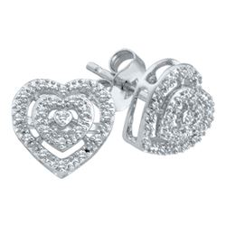 0.08 CTW Diamond Heart Screwback Earrings 10KT White Gold - REF-14M9H