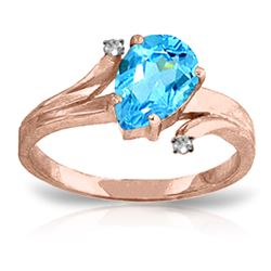 Genuine 1.51 ctw Blue Topaz & Diamond Ring Jewelry 14KT Rose Gold - REF-51K4V