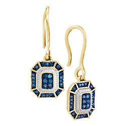 0.21 CTW Blue Color Diamond Square Dangle Wire Earrings 10KT Yellow Gold - REF-22M4H