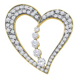 0.45 CTW Diamond Heart Journey Pendant 10KT Yellow Gold - REF-41X9Y