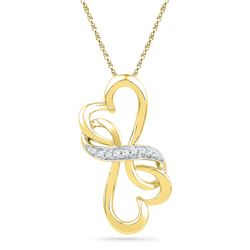 0.04 CTW Diamond Double Heart Love Pendant 10KT Yellow Gold - REF-7H4M