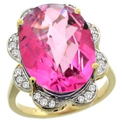 Natural 13.83 ctw pink-topaz & Diamond Engagement Ring 14K Yellow Gold - REF-124Y4X