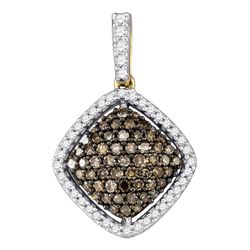 0.50 CTWCognac-brown Color Diamond Square Cluster Pendant 10KT Yellow Gold - REF-30W2K