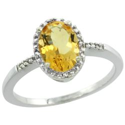 Natural 1.2 ctw Citrine & Diamond Engagement Ring 10K White Gold - REF-16Z9Y
