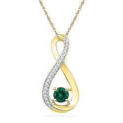 0.56 CTW Created Emerald Infinity Diamond Pendant 10KT Yellow Gold - REF-13H4M