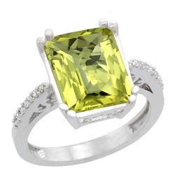 Natural 5.48 ctw Lemon-quartz & Diamond Engagement Ring 14K White Gold - REF-49K7R