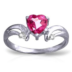 Genuine 0.96 ctw Pink Topaz & Diamond Ring Jewelry 14KT White Gold - REF-42K2V