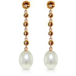 Genuine 10 ctw Citrine & Pearl Earrings Jewelry 14KT Rose Gold - REF-32Y4F