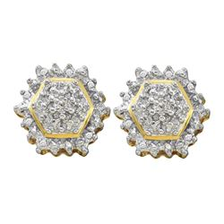 0.09 CTW Diamond Hexagon Geometric Cluster Earrings 10KT Yellow Gold - REF-31F4N