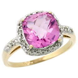 Natural 3.92 ctw Pink-topaz & Diamond Engagement Ring 14K Yellow Gold - REF-35F2N