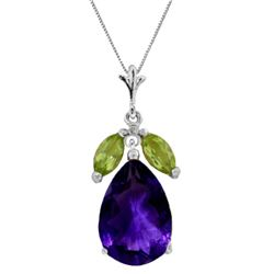 Genuine 6.5 ctw Amethyst & Peridot Necklace Jewelry 14KT White Gold - REF-38A2K