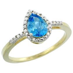 Natural 1.53 ctw swiss-blue-topaz & Diamond Engagement Ring 10K Yellow Gold - REF-18H9W