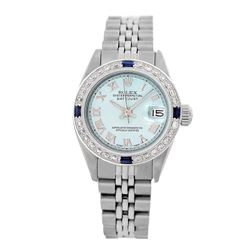 Rolex Pre-owned 26mm Womens Custom Ice Blue Dial Stainless Steel - REF-470R4M