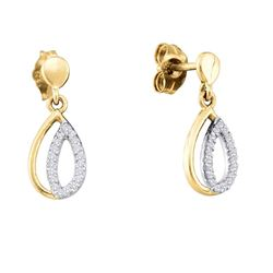0.12 CTW Diamond Teardrop Dangle Screwback Earrings 10KT Yellow Gold - REF-13F4N