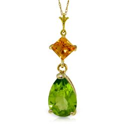 Genuine 2 ctw Peridot & Citrine Necklace Jewelry 14KT Yellow Gold - REF-24H3X