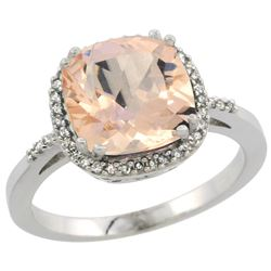 Natural 2.81 ctw Morganite & Diamond Engagement Ring 14K White Gold - REF-69K6R