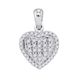 0.25 CTW Diamond Heart Pendant 10KT White Gold - REF-18M2H