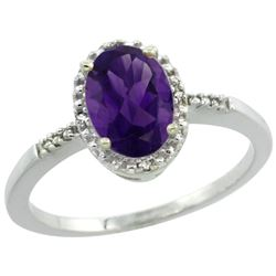 Natural 1.2 ctw Amethyst & Diamond Engagement Ring 14K White Gold - REF-23N2G