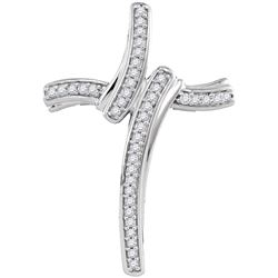 0.13 CTW Diamond Cross Pendant 10KT White Gold - REF-18H2M