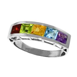 Genuine 2.25 ctw Multi-gemstones Ring Jewelry 14KT White Gold - REF-54A2K