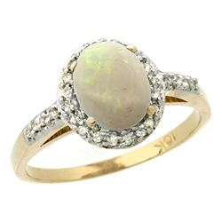 Natural 0.83 ctw Opal & Diamond Engagement Ring 10K Yellow Gold - REF-25A5V