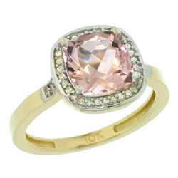 Natural 2.11 ctw Morganite & Diamond Engagement Ring 10K Yellow Gold - REF-46R2Z