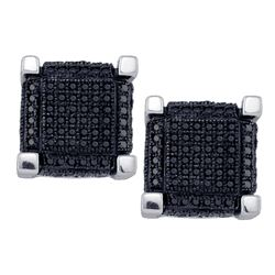 1.12 CTW Mens Black Color Diamond 3D Square Cube Earrings 10KT White Gold - REF-52N4F