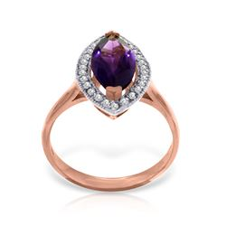 Genuine 1.80 ctw Amethyst & Diamond Ring Jewelry 14KT Rose Gold - REF-70T5A