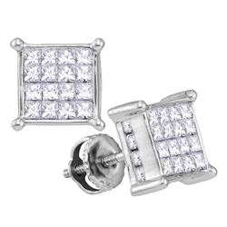 1.02 CTW Princess Diamond Cluster Stud Earrings 14KT White Gold - REF-75Y2X